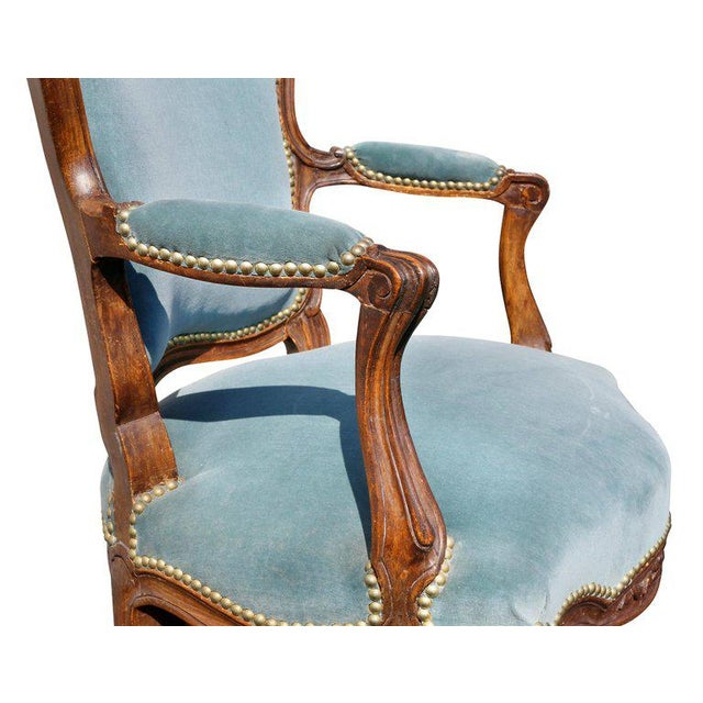 Pair of Louis XV Style Walnut Fauteuil For Sale - Image 4 of 11