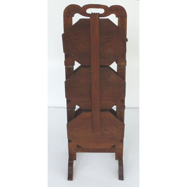 1900s 1900s Country Carved Wood Folding Serving Stand For Sale - Image 5 of 8