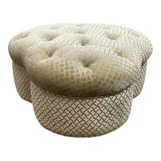 Custom Clover Ottoman on Castors For Sale