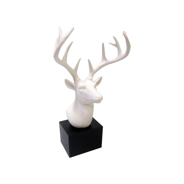 Faux White Reindeer Deer Antlers Bookshelf Decor - Image 1 of 11