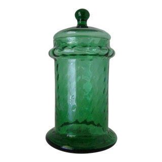 1960s Italian Empoli Green Optic Art Glass Apothecary Jar For Sale