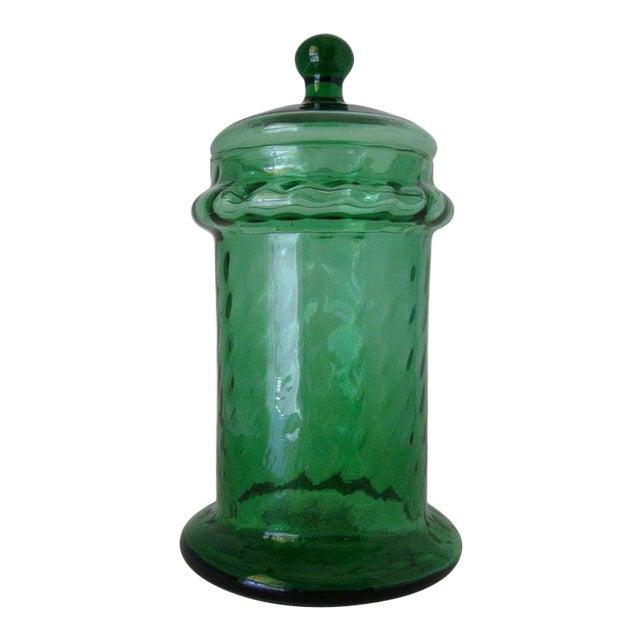 1960s Italian Empoli Green Optic Art Glass Apothecary Jar For Sale