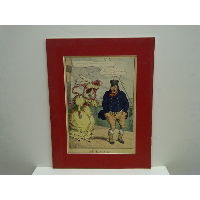 """This is a Vintage -- Hand Colored Print -- Titled """"The Steam Boat"""" -- Published By Thos. McLean -- 1827 -- The Print Is..."""