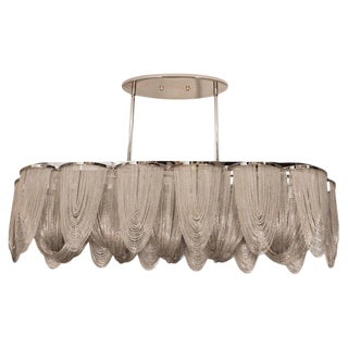 Modernist Polished Stainless Steel Draped Mesh Chandelier, Manner of Baylar
