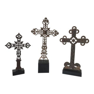 Mid 19th Century Vintage Cast Iron Cross Finials on Stands- 3 Pieces For Sale