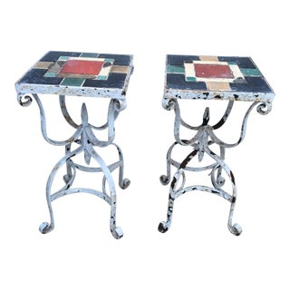 Iron Tile Top Tables - A Pair