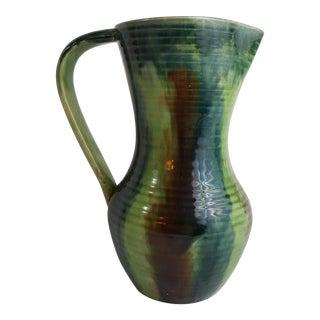 Green Belgian Art Pottery Jug For Sale