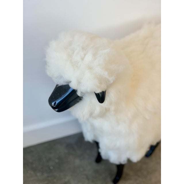 Art Nouveau Wool Sheep Stool For Sale - Image 3 of 4