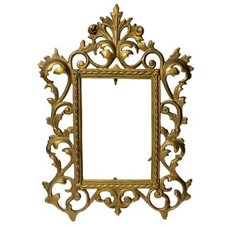 Antique Ornate Metal Picture Frame For Sale