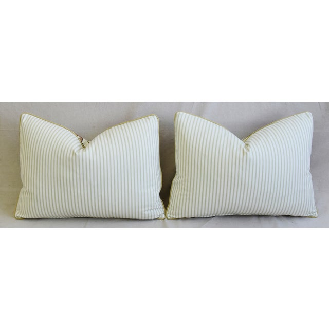 """Schumacher Arbre Fleuri Floral & Ticking Feather/Down Pillows 22"""" X 16"""" - Pair For Sale - Image 9 of 13"""
