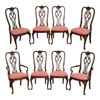 Ethan Allen 18th Century Collection Solid Mahogany Chippendale Dining Chairs - Set of 8 For Sale