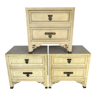Vintage Dixie Shangri La Asian Chinoiserie Fretwork Table Nightstands - Set of 3 For Sale