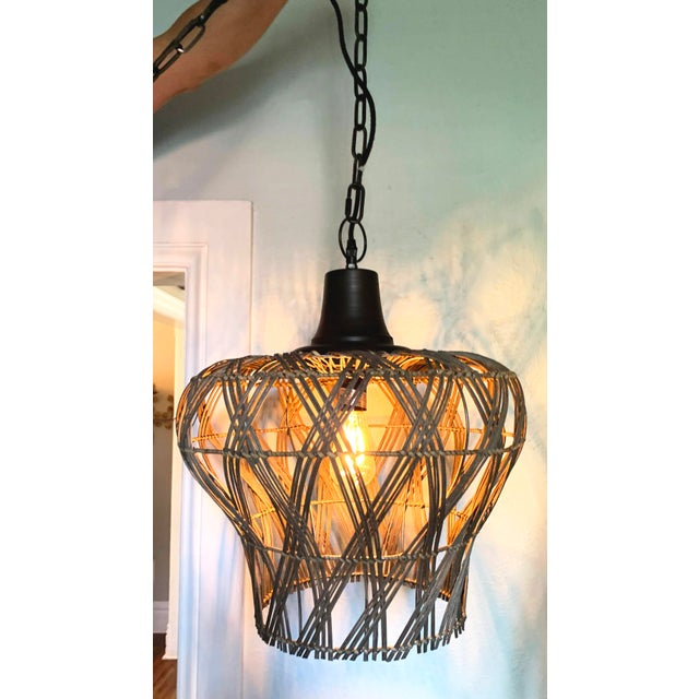 Large Dusty Grey Green Rattan Bell Pendant Light by Kalalou For Sale - Image 4 of 13