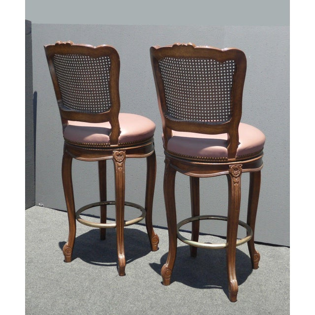 Vintage French Provincial Leather & Cane Bar Stools - A Pair - Image 5 of 11