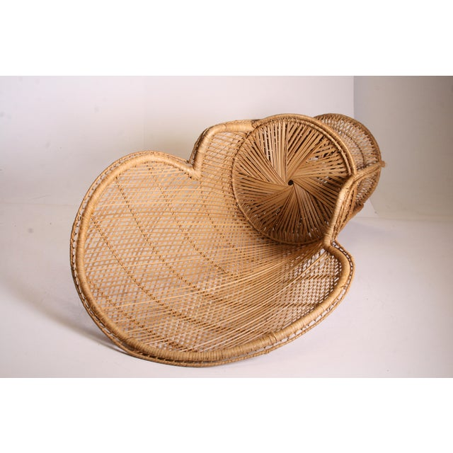 Brown Vintage Boho Chic Wicker Peacock Chair For Sale - Image 8 of 11