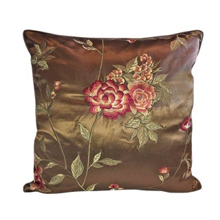 Lee Jofa Silk Embroidered Chinoiserie Down Feather Pillow For Sale