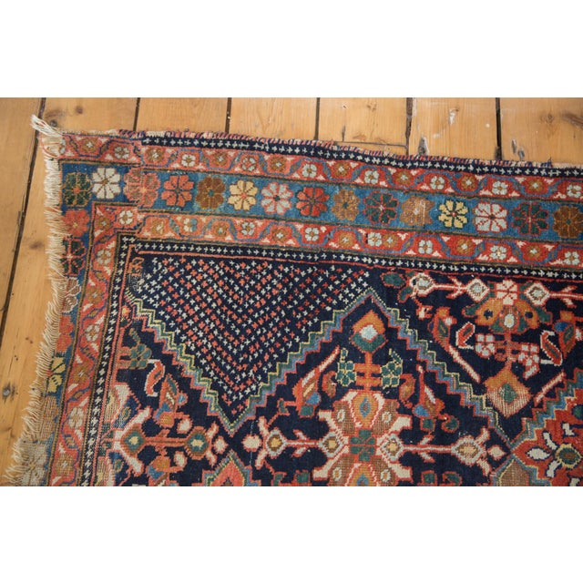 "Antique Distressed Afshar Square Rug - 4'4"" X 5'7"" - Image 6 of 9"