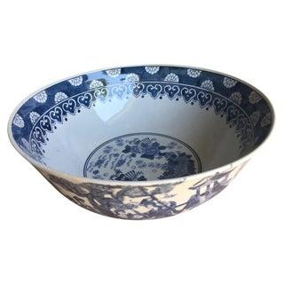 Vintage Chinoiserie Blue & White Decorative Bowl For Sale