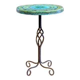 1960s Bitossi Rimini Blue Londi Italian Pottery Wrought Iron Ceramic Table For Sale
