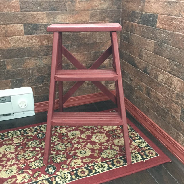 Vintage Painted Wood Step Ladder - Step Stool For Sale In New York - Image 6 of 11