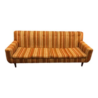 1960s Vintage Danish Striped Sofa For Sale