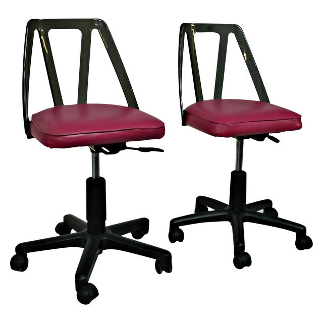 Vintage Smoked Lucite Office Chairs - Pair - Image 1 of 9