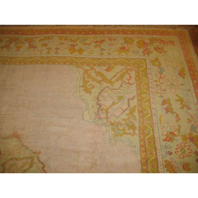 Green Bright Pink Antique Turkish Oushak Rug, 11' X 12'2'' For Sale - Image 8 of 10