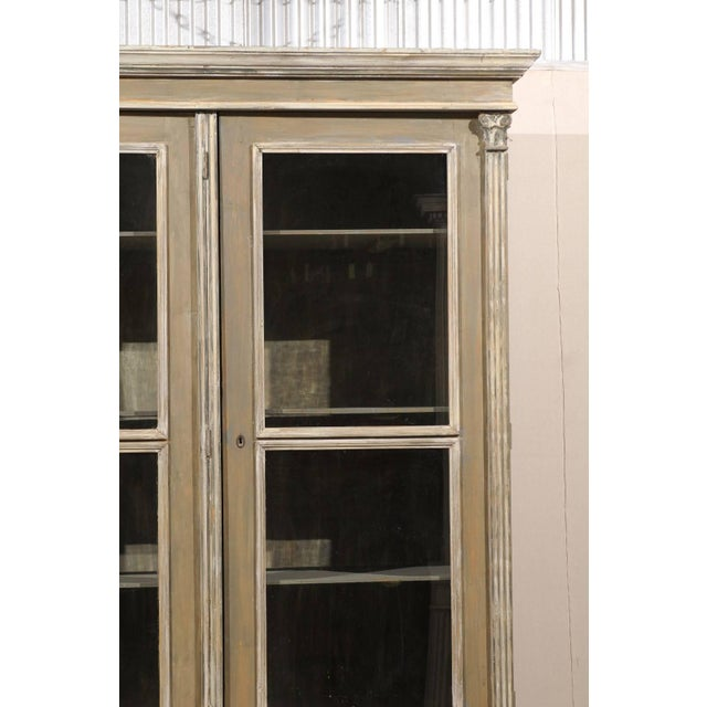 French 19th Century Wood Cabinet With Three Glass Doors Raised on Round Feet For Sale In Atlanta - Image 6 of 10