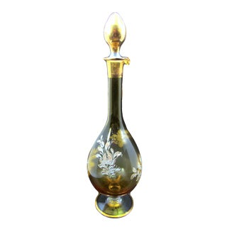 Antique Hand Blown & Painted Champagne Glass Liqueur Decanter & Stopper