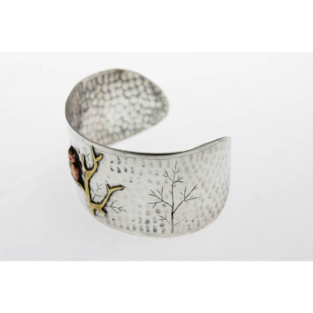 Arts and Crafts Handmade Sterling Silver and Mixed Metal Owl Cuff Bracelet For Sale - Image 4 of 6