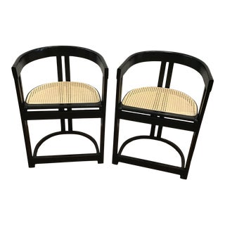 1970's Mid-Century Pair of Ed Whiting Black Lacquered Wood and Cane Lounge Chairs For Sale