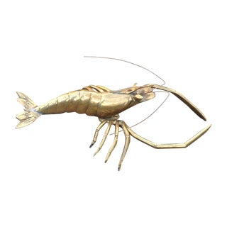 Mid-Century Brass Lobster For Sale