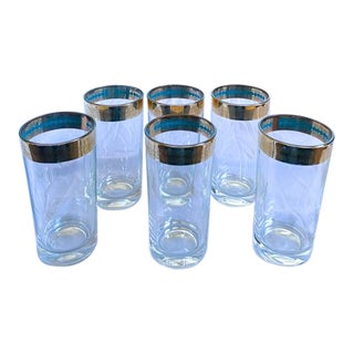 Set of 6 Mid Century Clear Glass Glasses - Gilt and Blue Rim For Sale