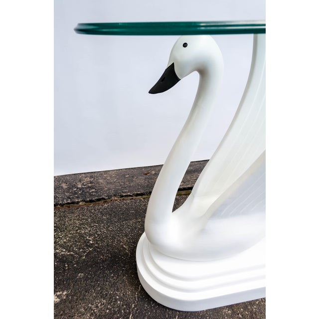 Wood Double Swan Glass Top Console Table For Sale - Image 7 of 13