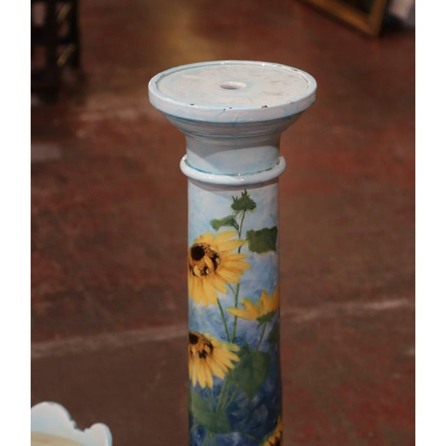 Ceramic 19th Century French Hand Painted Ceramic Planter and Stand Signed D. Massier For Sale - Image 7 of 13