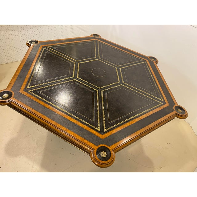 Wood Maitland-Smith Embossed Leather Game Table For Sale - Image 7 of 12
