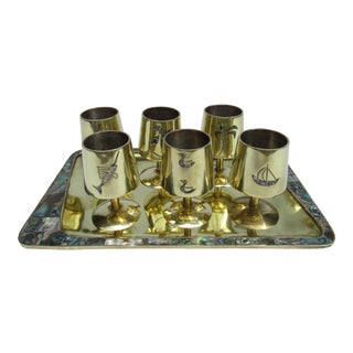 1960s Vintage Mid Century Taxco Mexican Brass & Abalone Shell Cordials & ServerTray Set - 7 Pieces For Sale