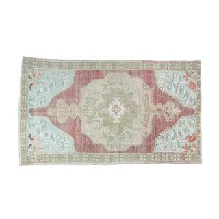 """House of Séance - 1940s Vintage Anatolian Isparta Oushak Wool Ushak Rug - 4'2"""" X 7'2"""" For Sale"""
