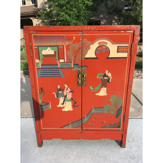 Early 20th Century Chinoiserie Hand Painted Cabinet For Sale - Image 4 of 13