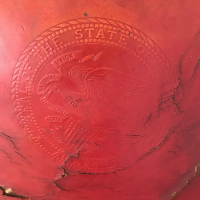 American Vintage Mid Century B L Marble Company Illinois House of Representatives Leather Lawyer Judge Chair For Sale - Image 3 of 13