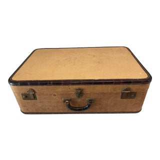 1930s Canvas and Brown Leather Suitcase For Sale