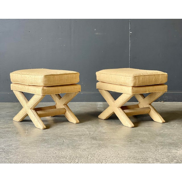 1960s Custom Vintage Grass Cloth X Stools a Pair For Sale - Image 5 of 8