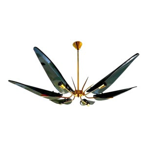 Murano Chandelier Fontana Arte Glass Leaves With Gilt Frame, 1960