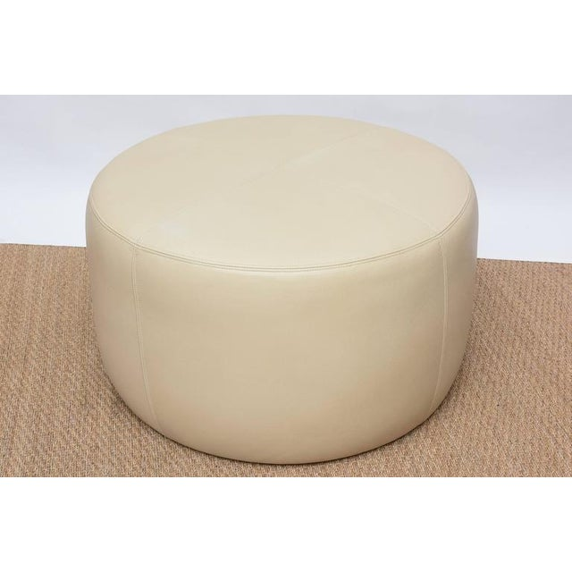 Round Leather Ottoman For Sale - Image 9 of 9