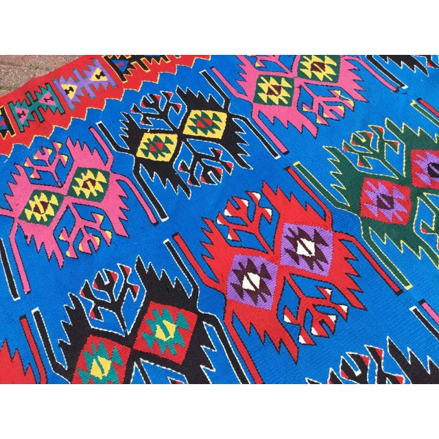 Blue Vintage Turkish Kilim Rug For Sale In Raleigh - Image 6 of 9