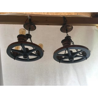 Pair of Vintage Wagon Wheel Light Fixtures Preview