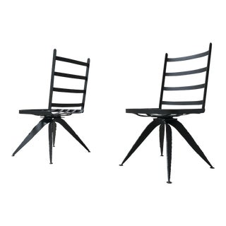 Torch Cut Brutal Swivel Chairs - A Pair For Sale