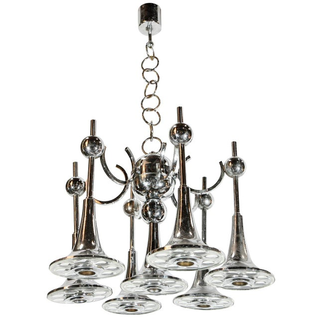 Italian Trumpets Chandelier by Sciolari For Sale - Image 9 of 9