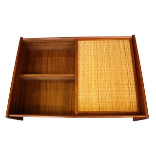 Danish Modern Wall Mounted Teak and Cane Cabinet For Sale
