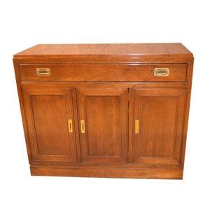 Vintage Ethan Allen Campaign Style Flip Top Server For Sale